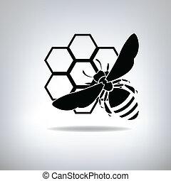 noir, abeilles, et, miel