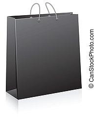 noir, achats, bag.