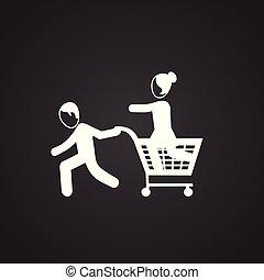 noir, achats, vente, famille, fond