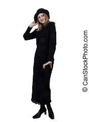 noir, adolescent, robe, girl