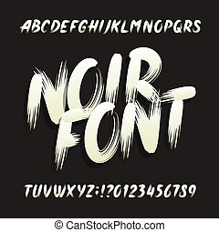 Noir alphabet font. Uppercase brushstroke letters and...