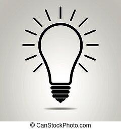 noir, ampoule, lumière
