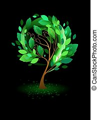 noir, arbre, arrière-plan vert