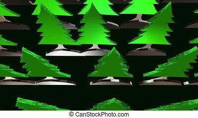 noir, arbres sapin, forêt verte