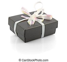 noir, arc don, boîte, blanc