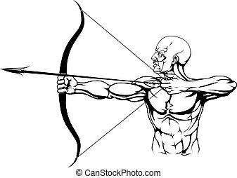 noir, archer, illustration, blanc