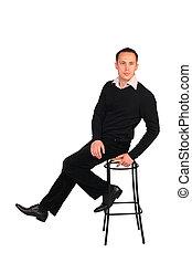 noir, assied, tabouret, jeune homme