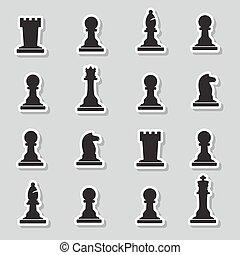 noir, autocollants, morceaux échecs