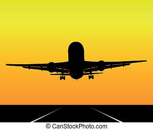 noir, avion, silhouette