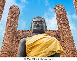 noir, ayutthaya-thailand, bouddha