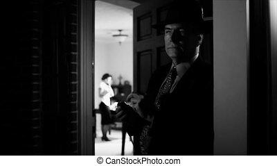 noir, bábu dohányzás, és, gondolkodó, képben látható, picsa