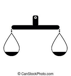 noir, balance, équilibre, icône, couleur, ou