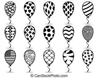 noir, balloon, modèle, icônes