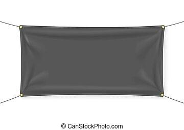 noir, bannière, tissu, gabarit, plis