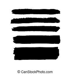 noir, bannières, ensemble, cinq