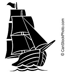 noir, bateau, silhouette, symbole