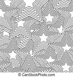 noir, blanc, étoile, seamless, retro