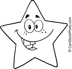noir, blanc, étoile, sourire