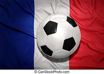 noir blanc, boule football, sur, les, drapeau national, de, france