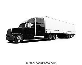 noir, blanc, camion, fond, semi