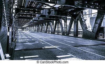 noir, blanc, chicago, pont, en ville