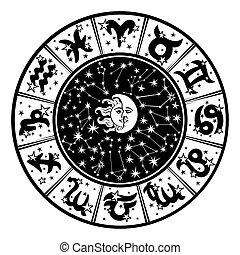 noir, blanc, circle., lune, signe, zodiaque, sun., horoscope