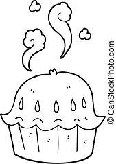 noir blanc, dessin animé, chaud, tarte
