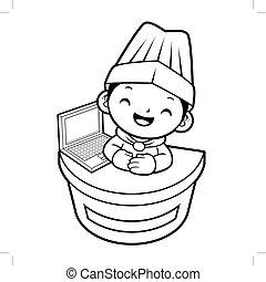 Cuisinier symbole informatique chapeau plat simple for Cuisinier chapeau noir