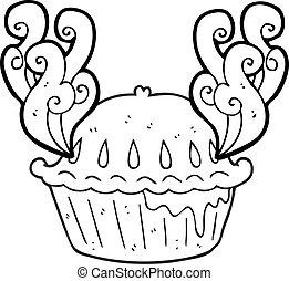 noir blanc, dessin animé, tarte