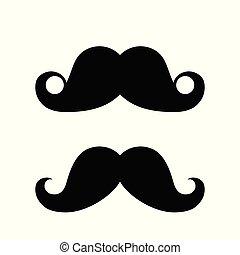 noir, blanc, ensemble, silhouette, moustache