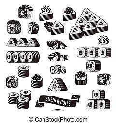 noir, blanc, ensemble, sushi, icônes