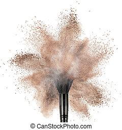 noir, blanc, explosion, isolé, poudre