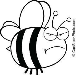 noir, blanc, fâché, abeille
