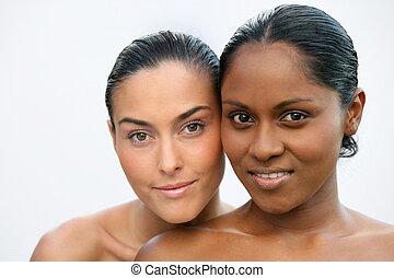 noir, blanc, femme, poser, ensemble