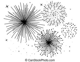 noir blanc, feux artifice