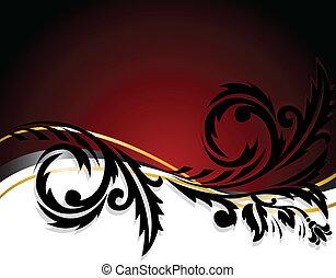 noir, blanc, ornement, rouges