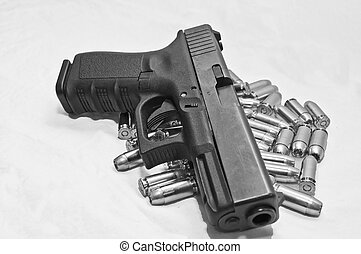 noir, blanc, pistolet, coup, balles