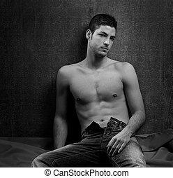 noir blanc, sexy, jeune, sans chemise, homme