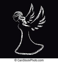 noir, blanc, silhouette, fond, ange