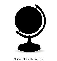 noir, blanc, silhouette, fond, globe