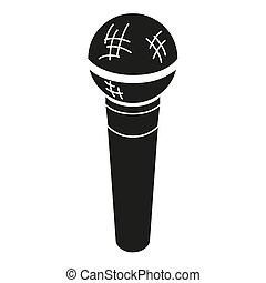 noir, blanc, silhouette, microphone