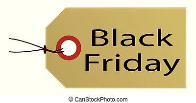 noir, blanc, vendredi, étiquette, paquet