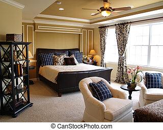 noir, bleu, maître, chambre à coucher