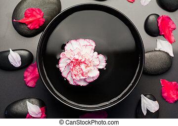 noir, bol, entouré, pétales, pierres, oeillet, blanc, flotter, rose