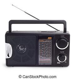 noir, bonne radio, écouter, à, isolé, station, vagues