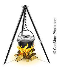 noir, bouilloire, pour, feu camp, sur, trépied