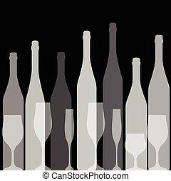 noir, bouteilles, silhouette