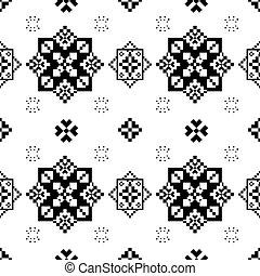 noir, broderie, slavic, géométrique, ethnique, fleur, créativité, vecteur, folks., decoration., texture, pattern., blanc