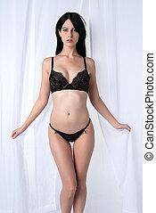 noir, brunette, lingerie
