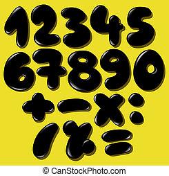 noir, bulle, nombres